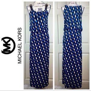 Michael Kors Leather Straps Side Slit Maxi Dress